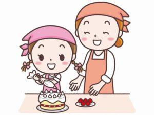 親子でケーキ作り